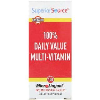 Superior Source, 1日適正摂取量の100% マルチビタミン, マイクロリンガル 即溶性錠剤 100錠
