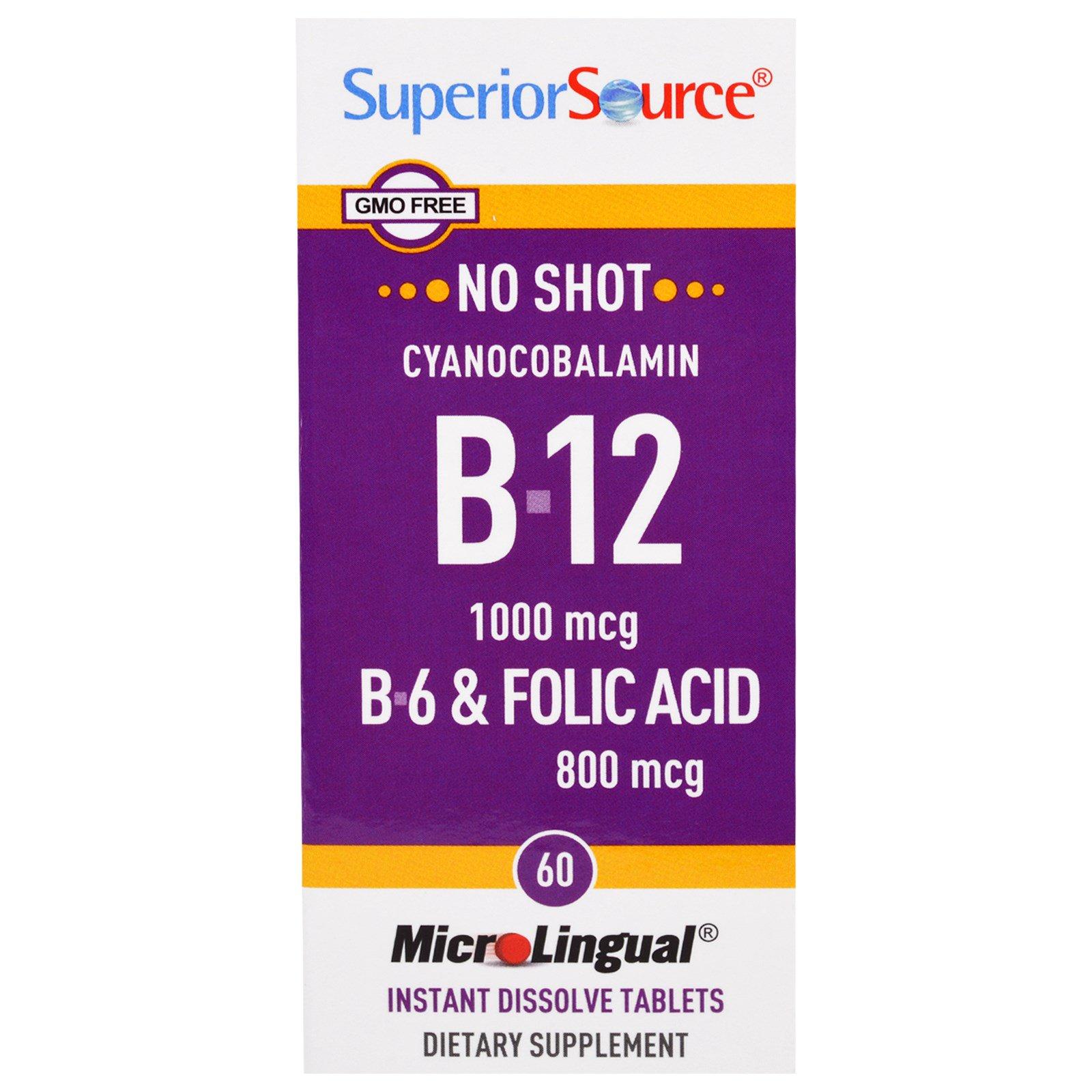 Superior Source, MicroLingual, цианокобаламин B-12 1000 мкг, B-6 и фолиевая кислота 800 мкг, 60 быстрорастворимых таблеток