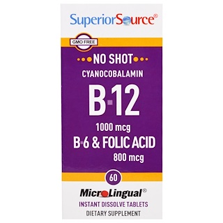 Superior Source, 氰鈷維生素B-12,1000微克,B-6及葉酸,800微克,60即時速溶片劑