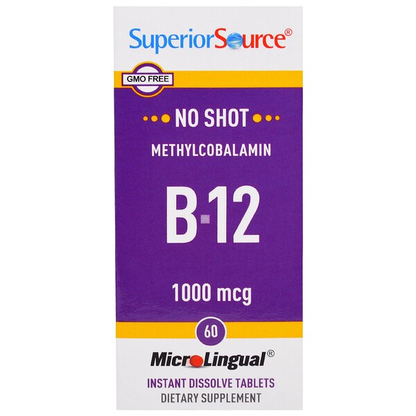 :Superior Source, Methylcobalamin B-12, 1000 mcg, 60 MicroLingual Instant Dissolve Tablets