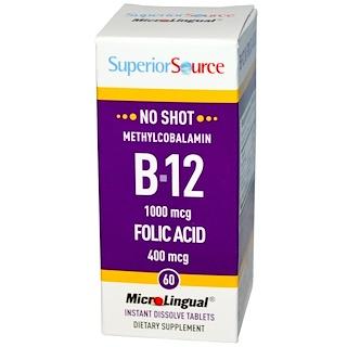 Superior Source, Methylcobalamin B-12, 1000 mcg, Folic Acid 400 mcg, 60 MicroLingual Instant Dissolve Tablets