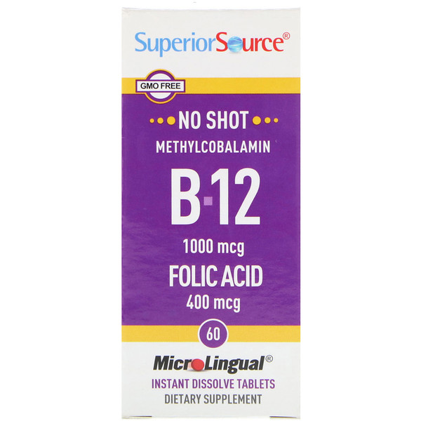 Superior Source, Methylcobalamin B-12, 1000 mcg, Folic Acid 400 mcg, 60 MicroLingual Instant Dissolve Tablets