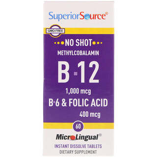 Superior Source, Methylcobalamin B-12 1000 mcg, B-6 & Folic Acid 400 mcg , 60 MicroLingual Instant Dissolve Tablets