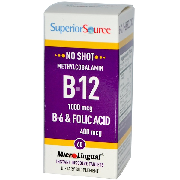 Superior Source, Methylcobalamin B-12, 1000 mcg, B-6 & Folic Acid 400 mcg, 60 MicroLingual Instant Dissolve Tablets