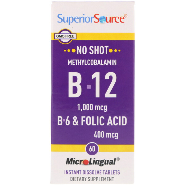Superior Source, Methylcobalamin B-12, B-6 & Folic Acid, 1,000 mg/400 mg, 60 Tablets