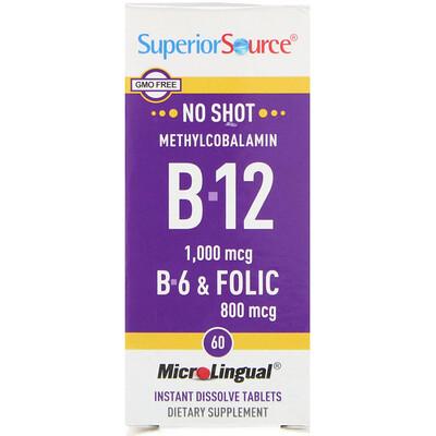 Купить Метилкобаламин B-12, 1000 мкг, B-6 и фолиевая кислота 800 мкг, MicroLingual, 60 таблеток