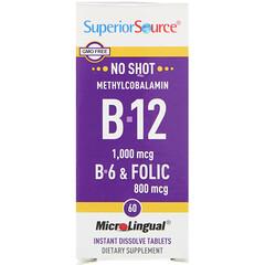 Superior Source, 甲鈷胺維生素 B12、B6 和葉酸,1,000 毫克/ 800 毫克,60 片