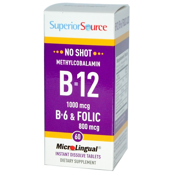 Superior Source, Methylcobalamin B-12, 1000 mcg, B-6 & Folic Acid 800 mcg, 60 MicroLingual Instant Dissolve Tablets