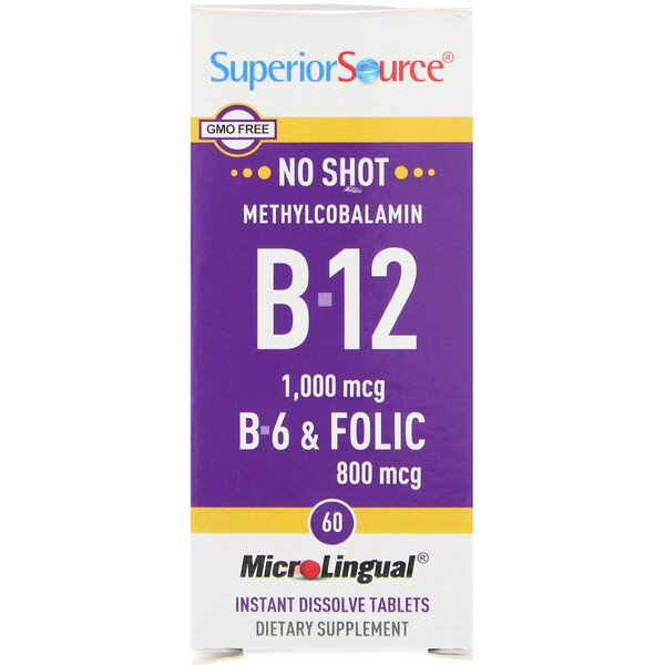 Superior Source, Methylcobalamin B-12, B-6 & Folic Acid, 1,000 mg/800 mg, 60 Tablets