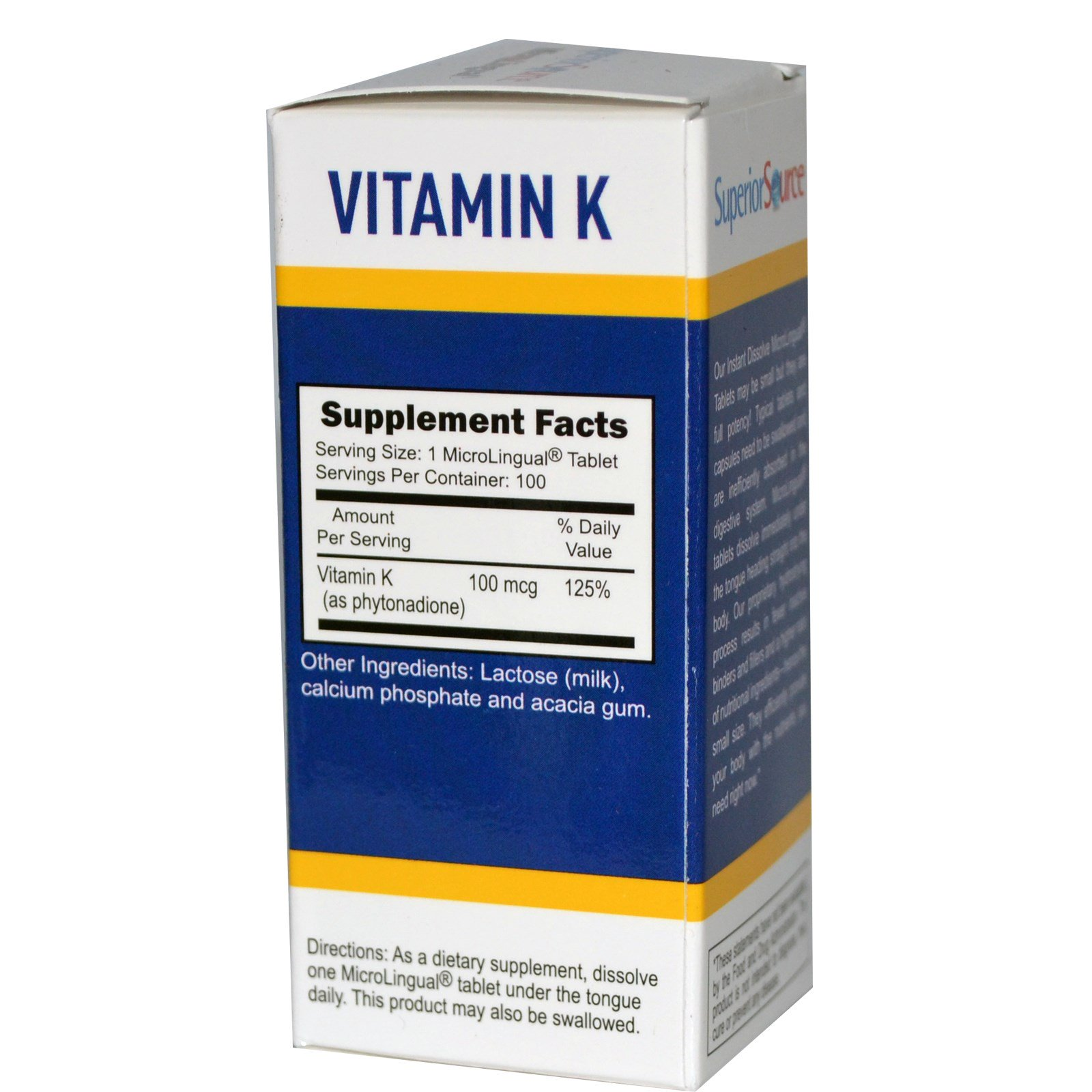 Superior Source, Витамин К, 100 мкг, 100 микролингвальных растворимых таблеток