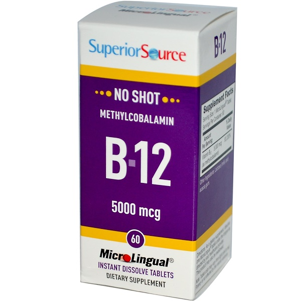 Superior Source, Methylcobalamin B12, 5000 mcg, 60 MicroLingual Instant Dissolve Tablets