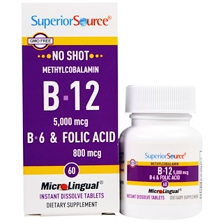 Superior Source, Methylcobalamin B-12 5000 mcg, B-6 & Folic Acid 800 mcg , 60 MicroLingual Instant Dissolve Tablets