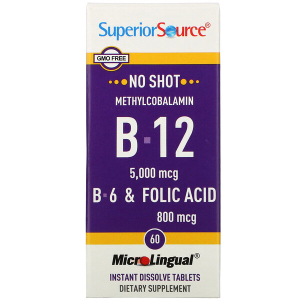 Superior Source, No Shot, Methylcobalamin B-12, B-6 & Folic Acid,  5,000 mcg/800 mcg, 60 MicroLingual Instant Dissolve Tablets