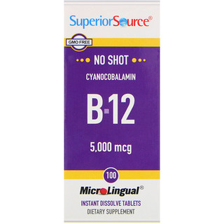 Superior Source, Cyanocobalamin B-12, 5,000 mcg, 100 MicroLingual Instant Dissolve Tablets