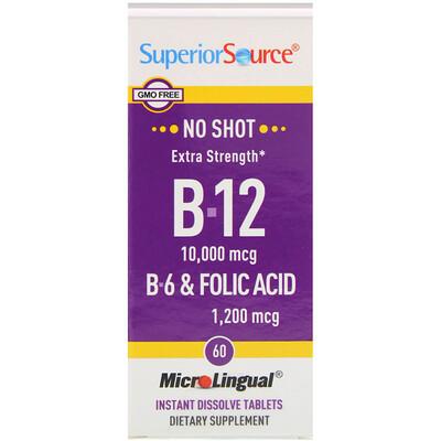 Купить Superior Source B-12, B-6 и фолиевая кислота повышенной силы действия, 10, 000 мкг / 1, 200 мкг, 60 микролингвальных быстрорастворимых таблеток