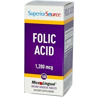 Superior Source, Folic Acid, 1,200 mcg, 100 MicroLingual Instant Dissolve Tablets
