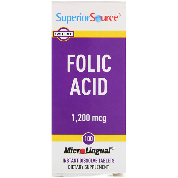 Folic Acid, 1,200 mcg, 100 Tablets