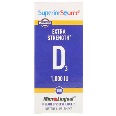 Купить Витамин D3, Экстра сила, 1000 МЕ, 100 микролингвальных таблеток