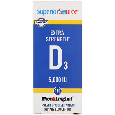 Витамин D3 Extra Strength, 5000 МЕ, 100 быстрорастворимых таблеток MicroLingual витамин d3 5000 ме 90 жевательных таблеток