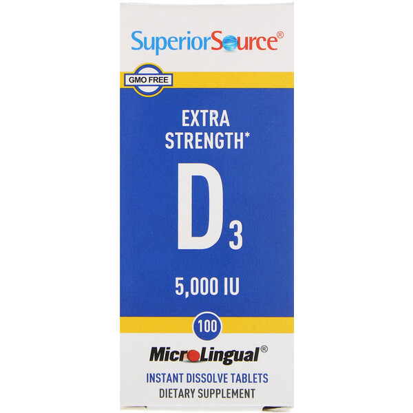 Superior Source, Extra Strength Vitamin D3, 125 mcg (5,000 IU), 100 MicroLingual Instant Dissolve Tablets