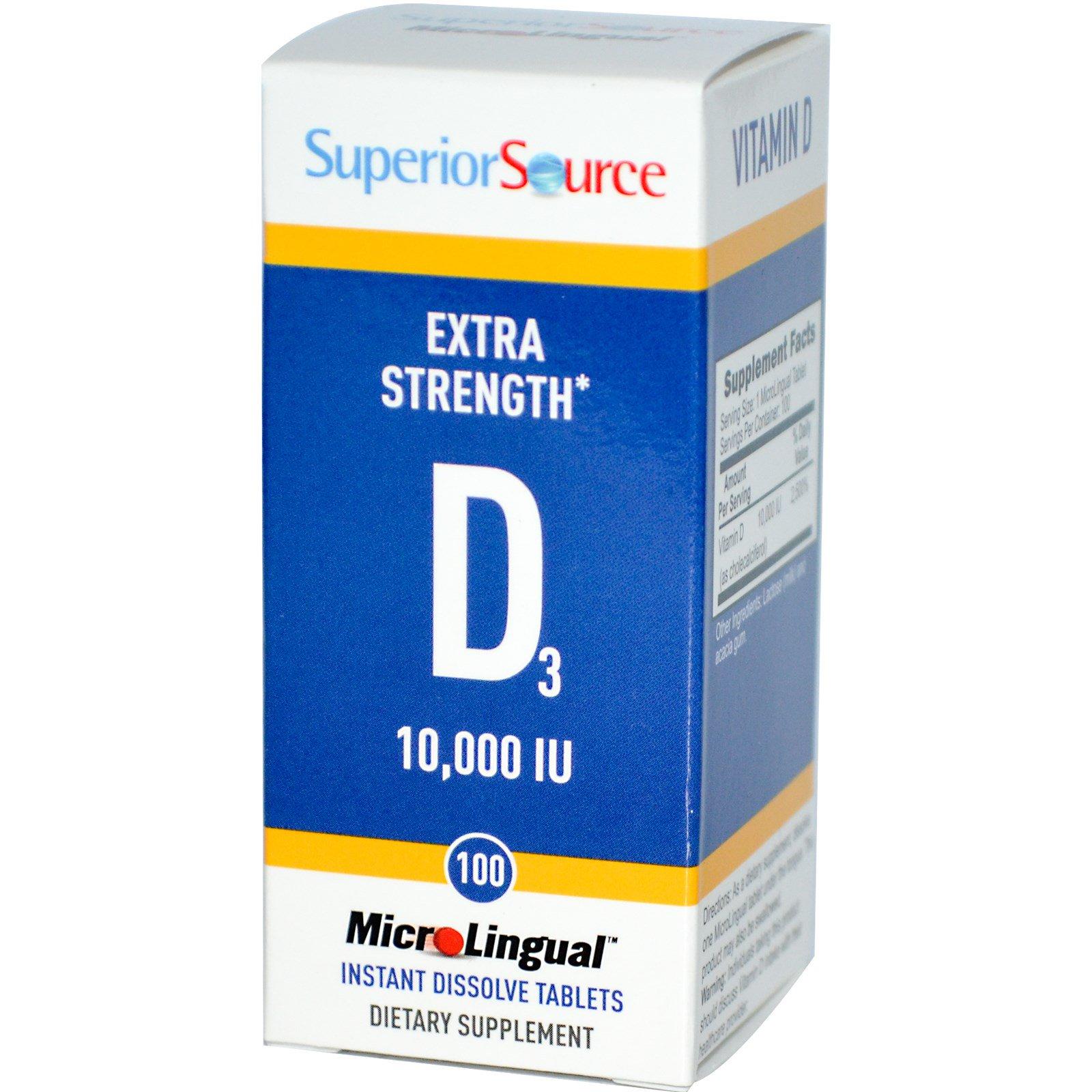Superior Source, D3, дополнительная силы, микролингвальный, 10000 МЕ, 100 таблеток