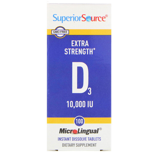 Superior Source, D3, Extra Strength, MicroLingual, 250 mcg (10,000 IU), 100 Tablets