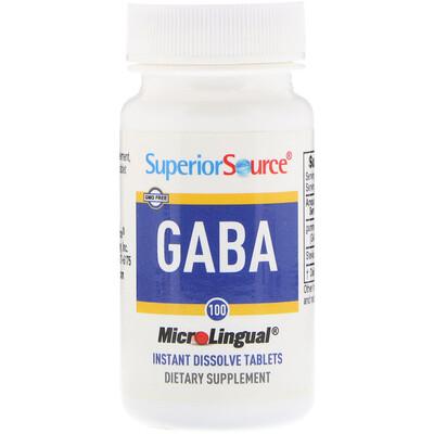 Superior Source GABA, 100 мг, 100 мгновенно растворяющихся микротаблеток