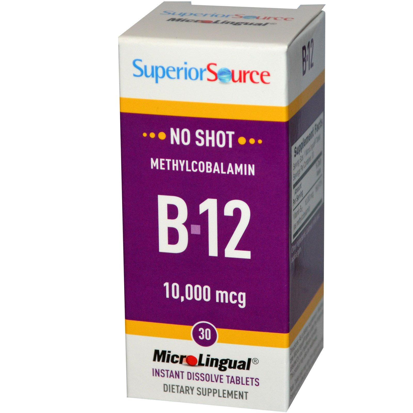 Superior Source, Метилкобаламин B-12, 10000 мкг, 30 микролингвальных быстрорастворимых таблеток