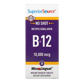 Superior Source, метилкобаламин B12, 10000мкг, 30быстрорастворимых таблеток MicroLingual