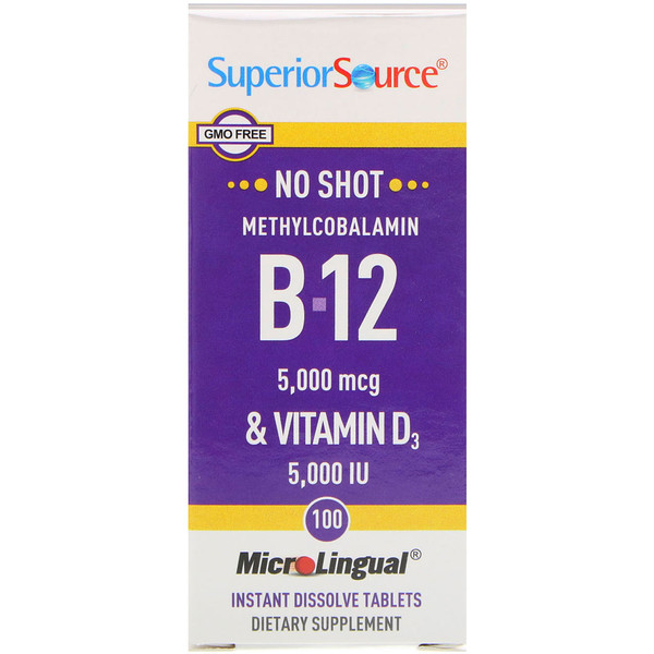 Superior Source, Methylcobalamin B-12 & Vitamin D3, 5,000 mcg / 5,000 IU, 100 MicroLingual Instant Dissolve Tablets