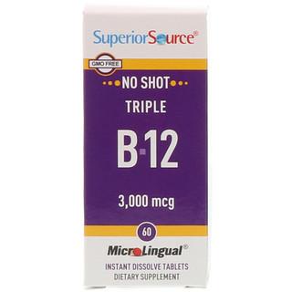 Superior Source, Triple B-12, 3,000 mcg, 60 MicroLingual Instant Dissolve Tablets