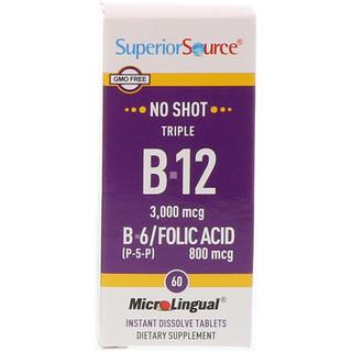 Superior Source, Triple B-12, B-6 [P-5-P] / Folic Acid, 3,000 mcg / 800 mcg, 60 MicroLingual Instant Dissolve Tablets