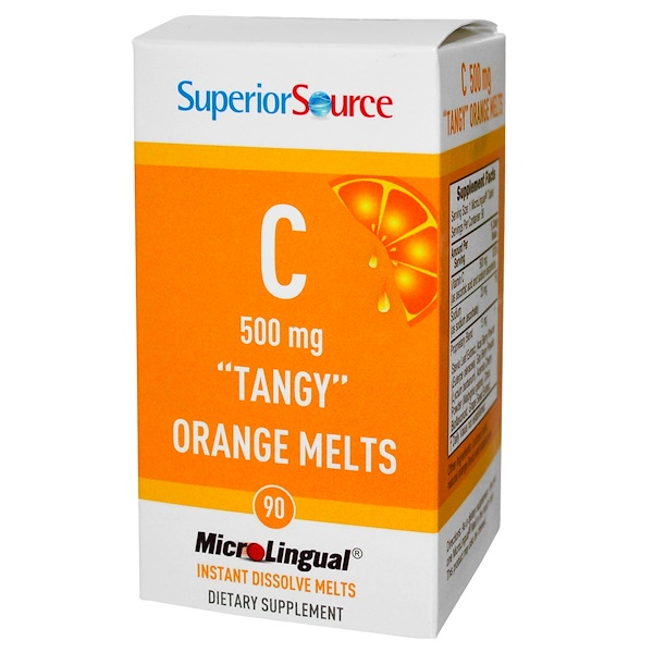 "Superior Source, C ""Tangy"" Orange Melts, 500 mg, 90 MicroLingual Instant Dissolve Melts (Discontinued Item)"
