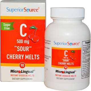 """Superior Source, C """"Sour"""" Cherry Melts, Sugar Free, 500 mg, 90 MicroLingual Instant Dissolve Melts"""