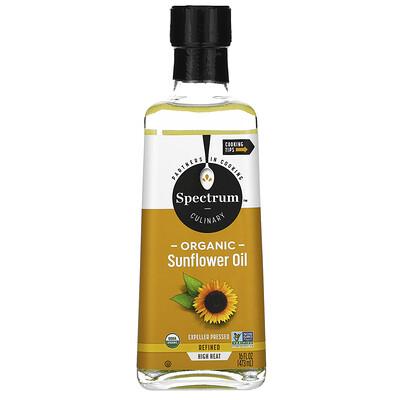 Spectrum Culinary Органическое подсолнечное масло для готовки на сильном огне, рафинированное, 16 жидких унций (473 мл)