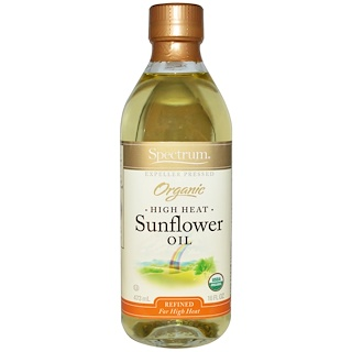 Spectrum Naturals, Organic High Heat Sunflower Oil, Refined, 16 fl oz (473 ml)