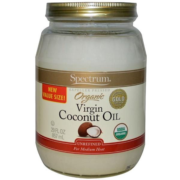 Spectrum Naturals, Organic Virgin Coconut Oil, Unrefined, 29 fl oz (857 ml) (Discontinued Item)