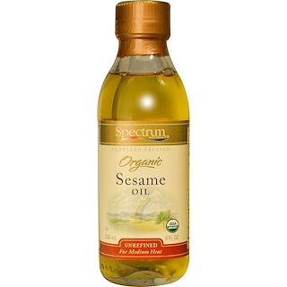 Spectrum Naturals, Organic Sesame Oil, Unrefined, 8 fl oz (236 ml)