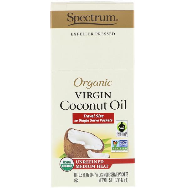 Spectrum Culinary, Органическое нерафинированное кокосовое масло, нерафинированно на среднем огне, 10 отдельных порционнных пакетиков, по 14,7 мл каждый (Discontinued Item)