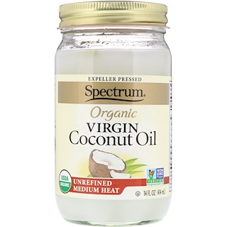 Spectrum Naturals, 유기농 버진 코코넛 오일, 비정제된, 14 액량 온스 (414 ml)