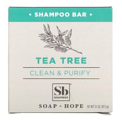 Купить Soapbox Tea Tree Shampoo Bar, Clean & Purify, 3.1 oz (87.5 g)