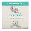 Soapbox, Tea Tree Shampoo Bar with Coconut Oil & Shea, Clean & Purify, 3.1 oz (87.5 g)