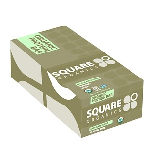 Square Organics, Organic Protein Bar, Chocolate Coated Almond Spice, 12 Bars, 1.7 oz (48 g) Each