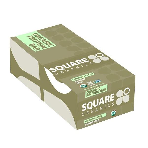 Square Organics, Organic Protein Bar, Chocolate Coated Almond Spice, 12 Bars, 1、7 oz (48 g) Each