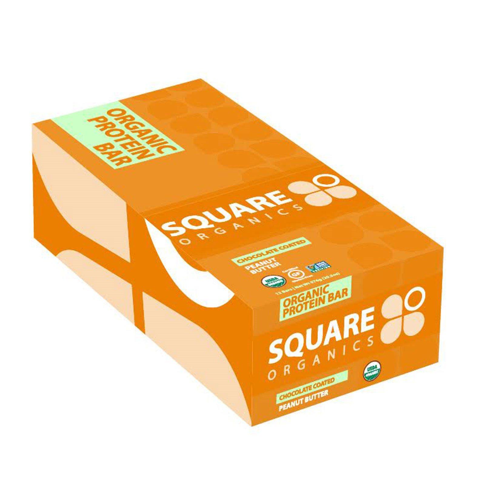 Square Organics, Органический протеиновый батончик, арахисовое масло вшоколаде, 12 батончиков, 1,7 унции (48 г) каждый