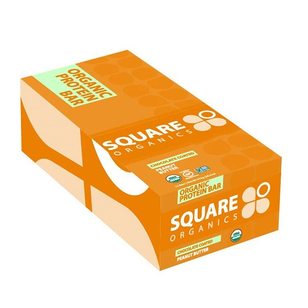 Square Organics, Organic Protein Bar, Chocolate Coated Peanut Butter, 12 Bars, 1.7 oz (48 g) Each (Discontinued Item)