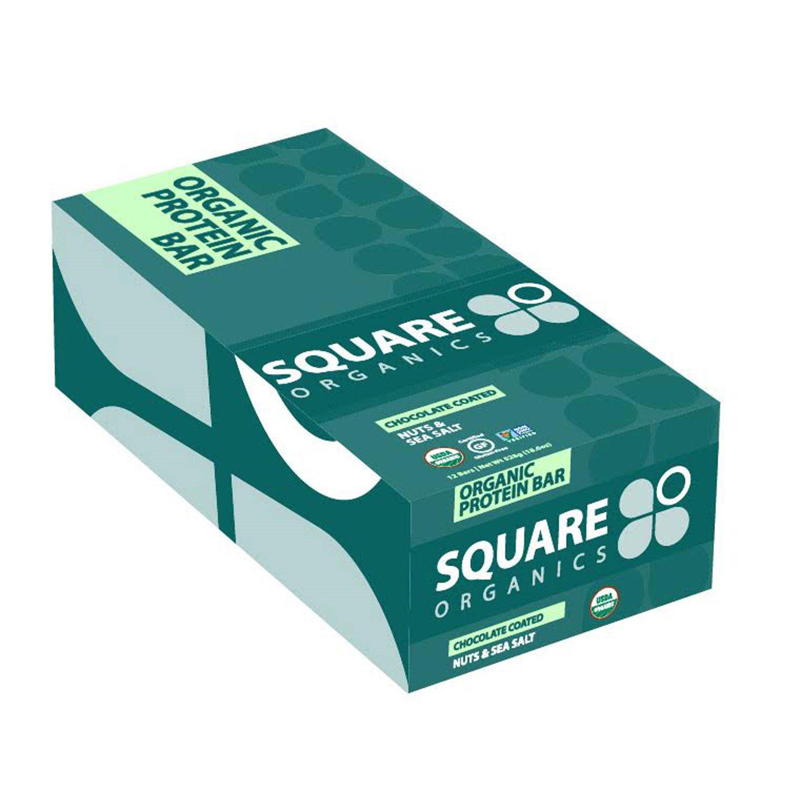 Square Organics, Органические белковые батончики, орехи в шоколаде с добавлением морской соли, 12 батончиков, 1,6 унции (44 г) Each