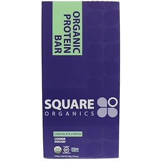 Square Organics, Organic Protein Bar, Chocolate Coated Cookie Dough, 12 Bars, 1.6 oz (44 g) Each
