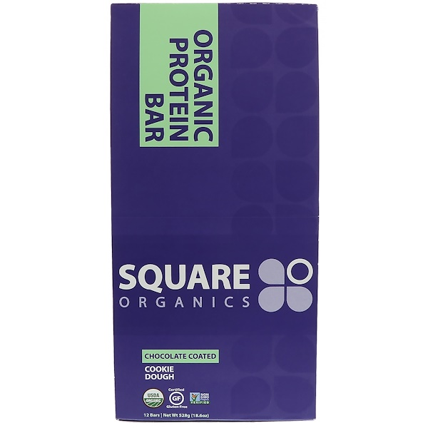 Square Organics, 有機蛋白棒,巧克力餅乾麵團,12 條,每條 1、6 盎司(44 克)
