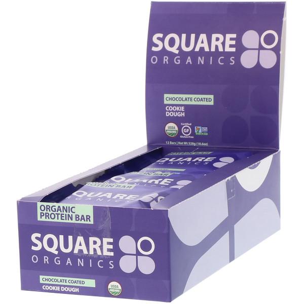 Square Organics, Органический белковый батончик, песочное тесто, покрытое шоколадом, 12 батончиков, по 44 г каждый (Discontinued Item)